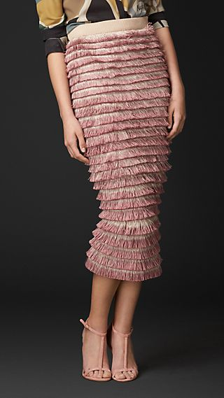 Hand-Painted Layered Fringe Pencil Skirt