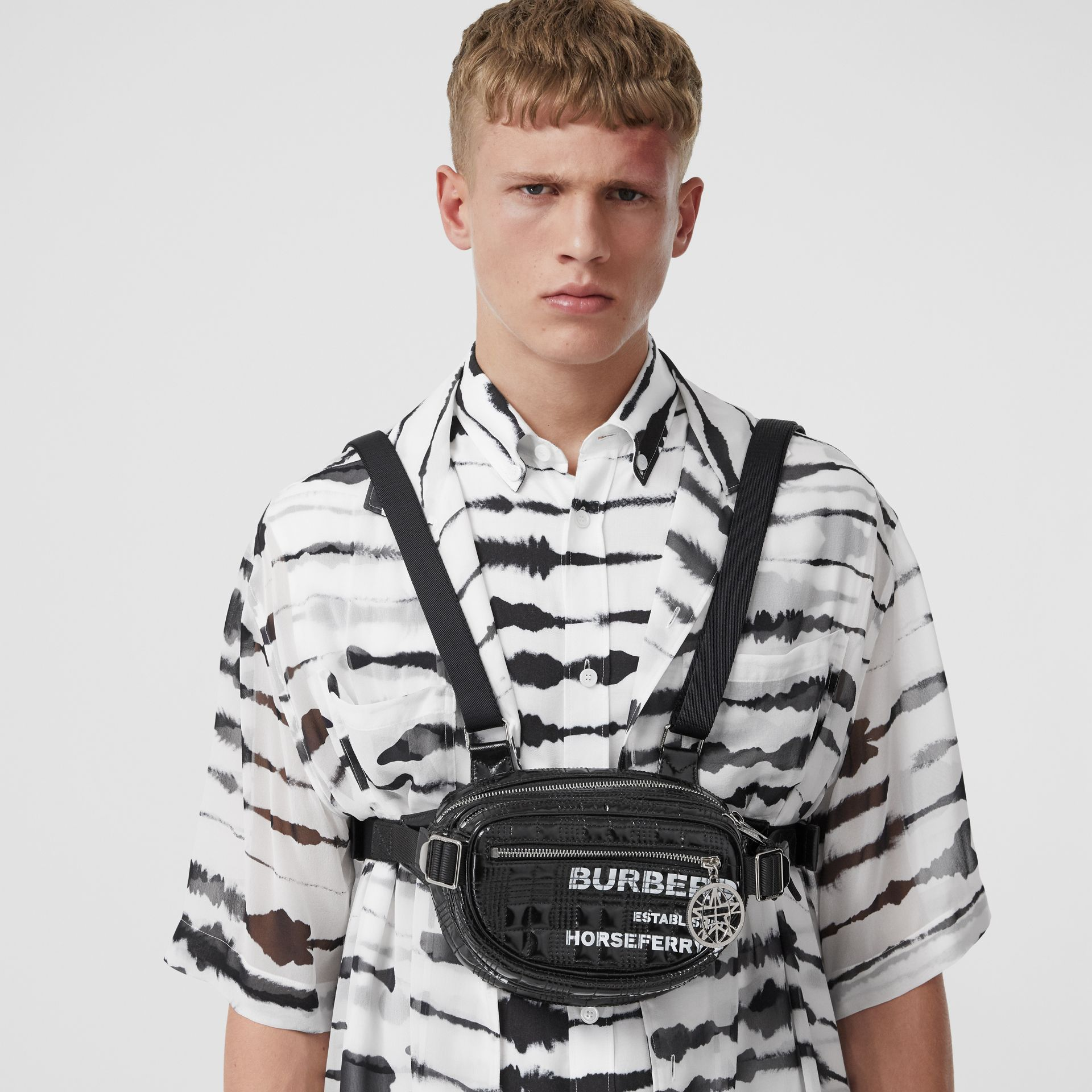 Horseferry Print Coated Canvas Cannon Belt Pack in Black | Burberry United States - gallery image 7