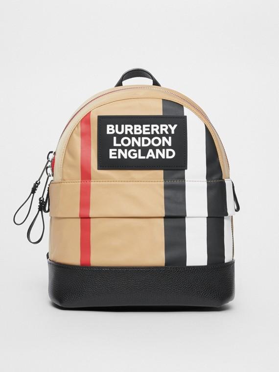 Logo Detail Icon Stripe Nylon Backpack in Archive Beige