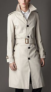 Long Cotton Gabardine Ostrich Leather Detail Trench Coat