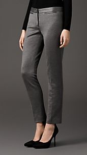 Slim Fit Tailored Jersey Trousers