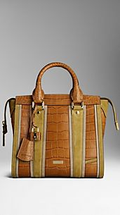 Alligator Leather Colour Block  Tote Bag