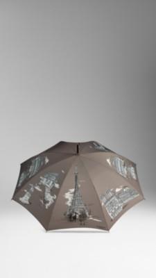 巴黎标志景观图案长柄雨伞