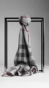 Check Houndstooth Cotton Cashmere Scarf