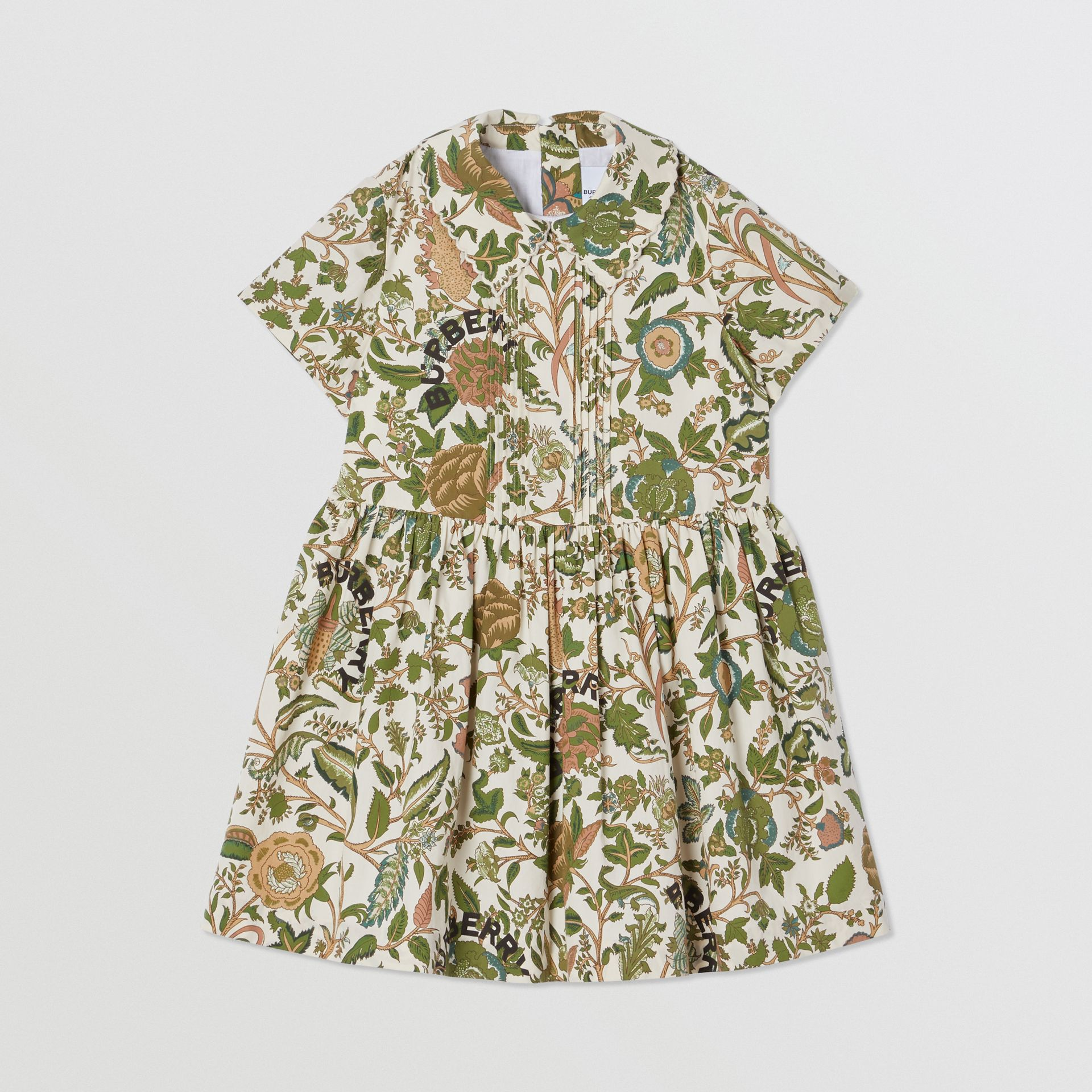 Botanical Print Cotton Dress in Olive | Burberry Hong Kong S.A.R - gallery image 0