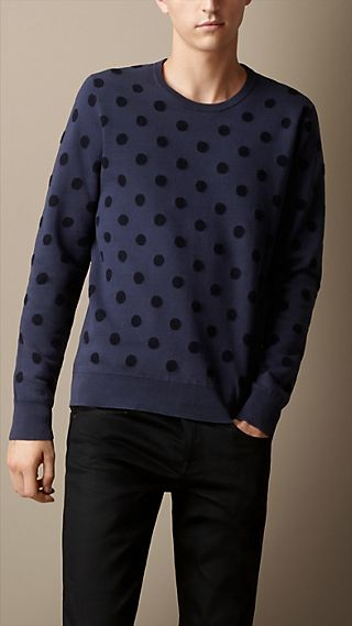 Cotton-Cashmere Polka Dot Sweater