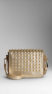 Studded Metallic Leather Crossbody Bag