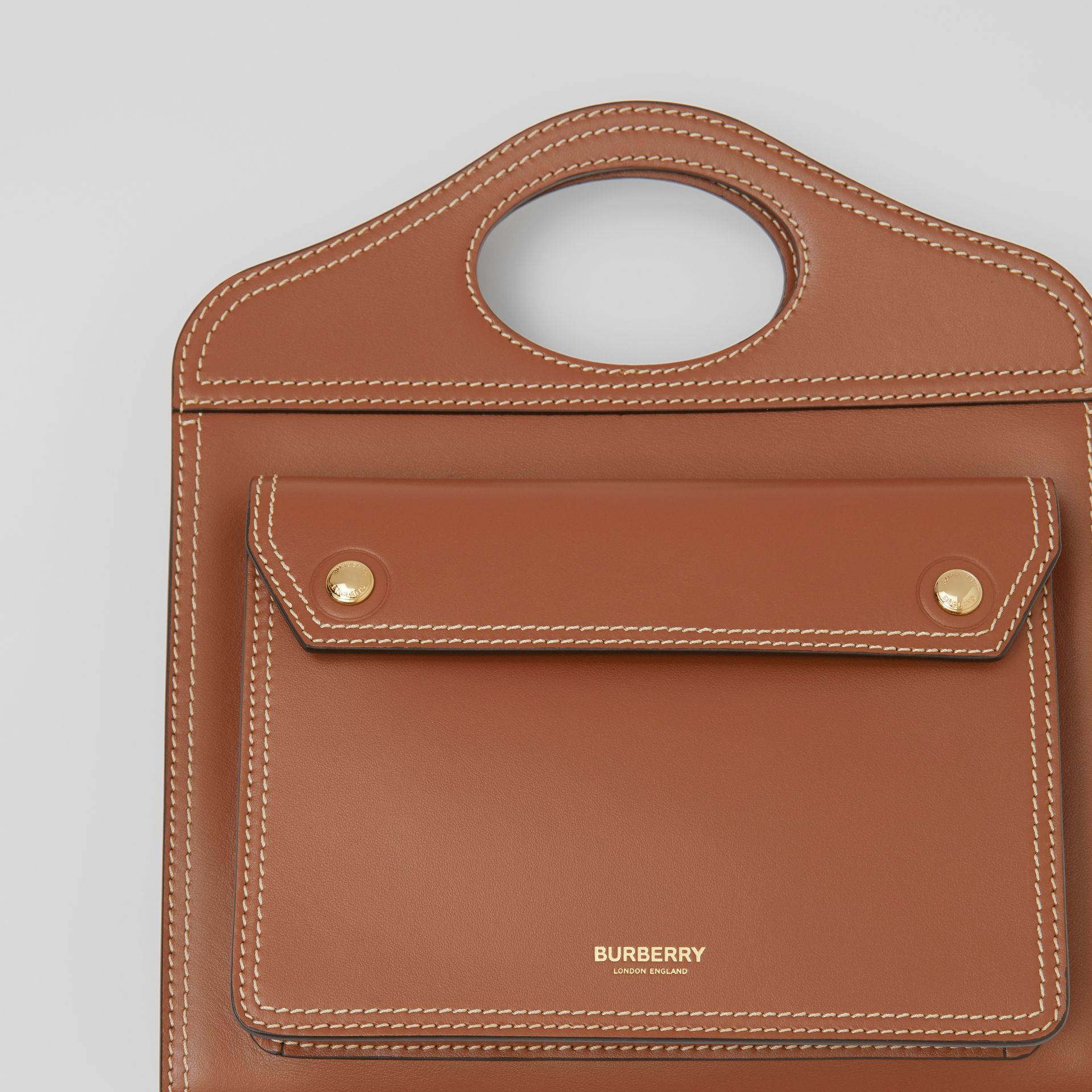 Mini Topstitched Leather Pocket Bag in Malt Brown - Women | Burberry - gallery image 1