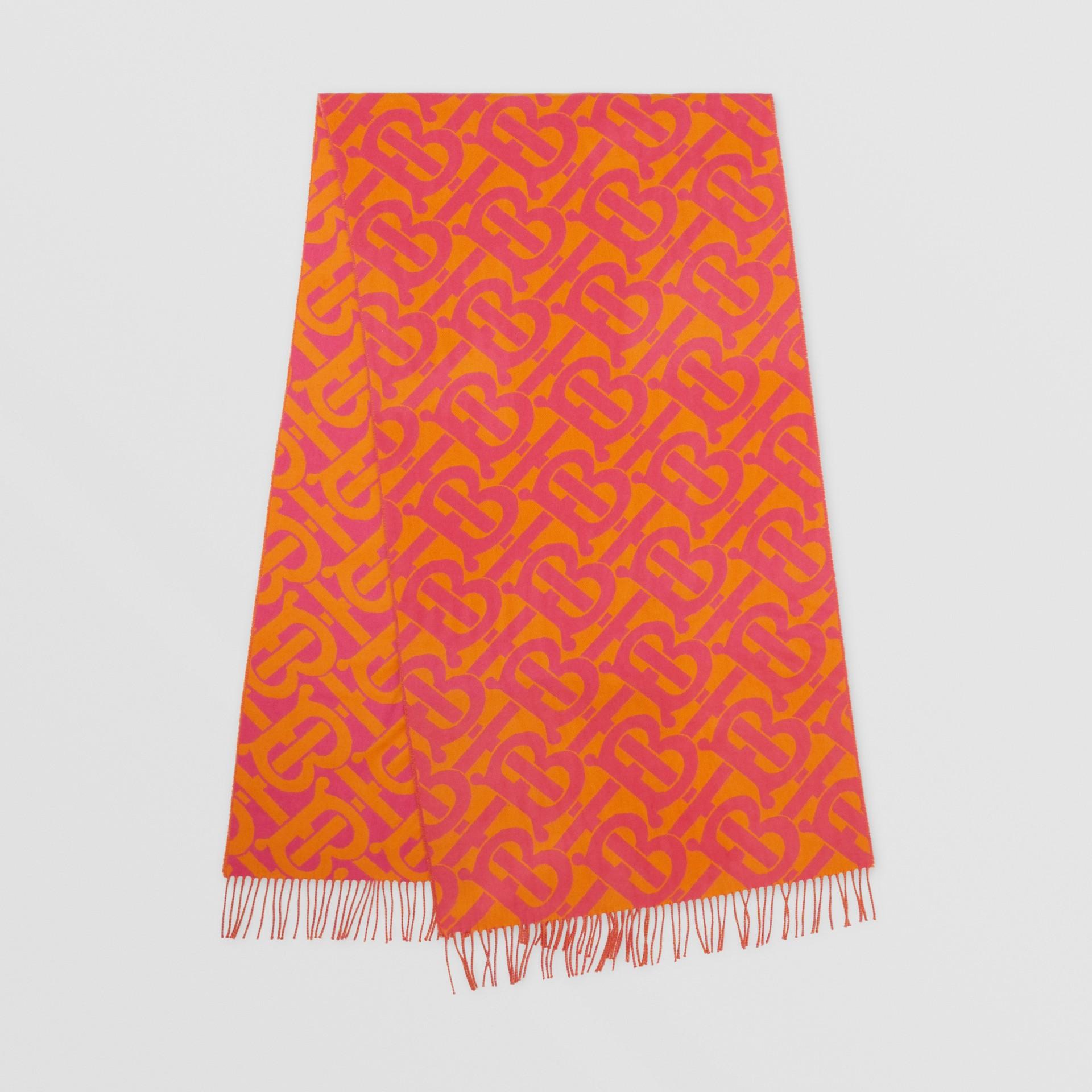 Bufanda en cachemir con motivo de monogramas en jacquard (Rosa Intenso) | Burberry - imagen de la galería 0