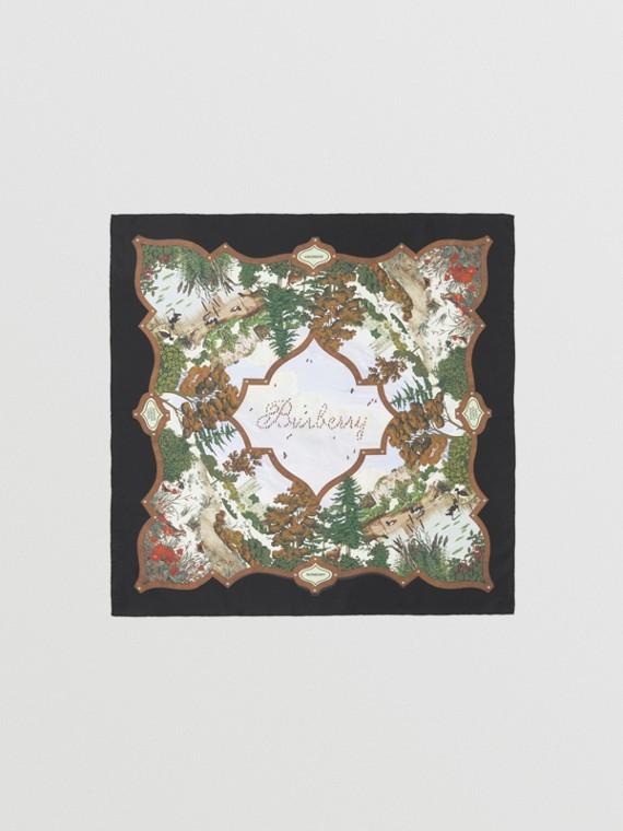 Seidenkarreeschal mit Vintage-Aufdruck (Lederbraun)