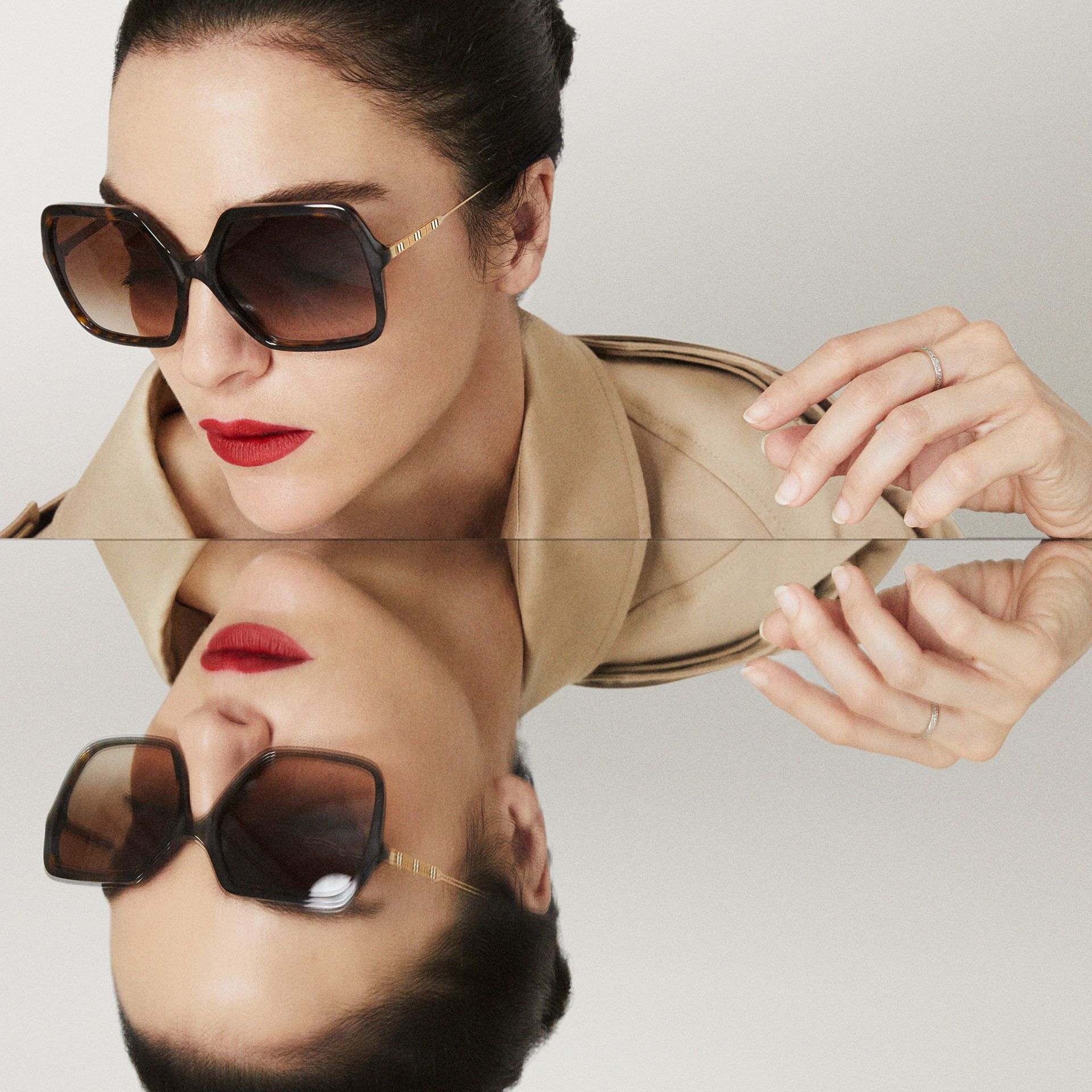 Oversized Square Frame Sunglasses in Tortoiseshell - Women | Burberry - gallery image 5