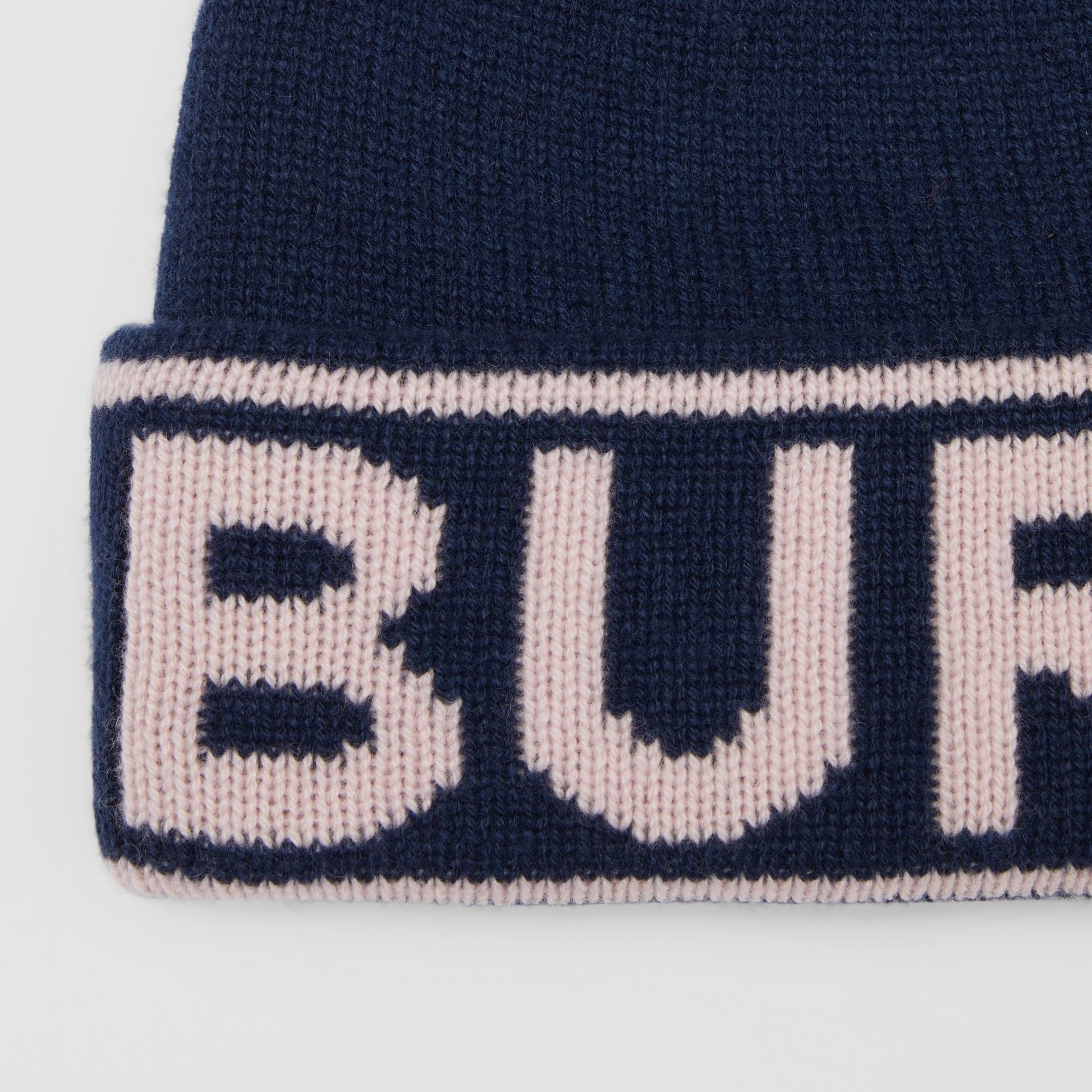 Logo Intarsia Cashmere Beanie in Navy | Burberry - gallery image 1