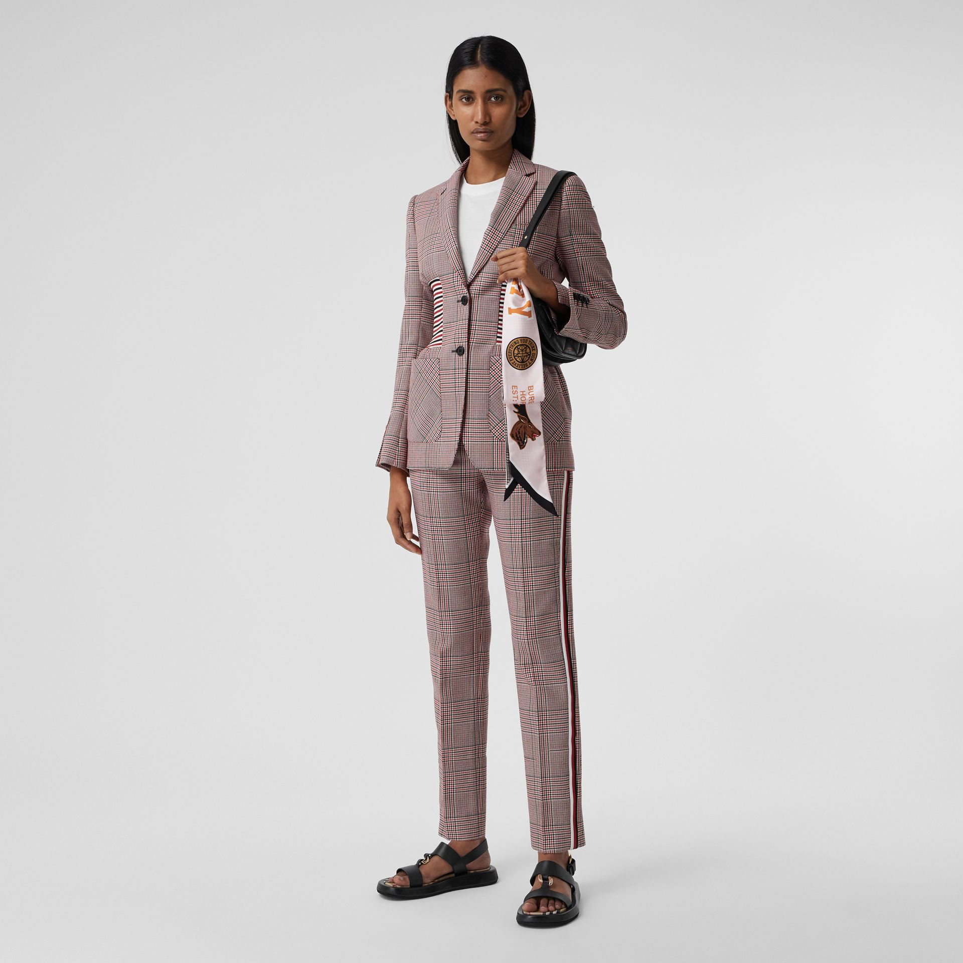 Varsity Graphic and Houndstooth Check Silk Skinny Scarf in Pink | Burberry - gallery image 5