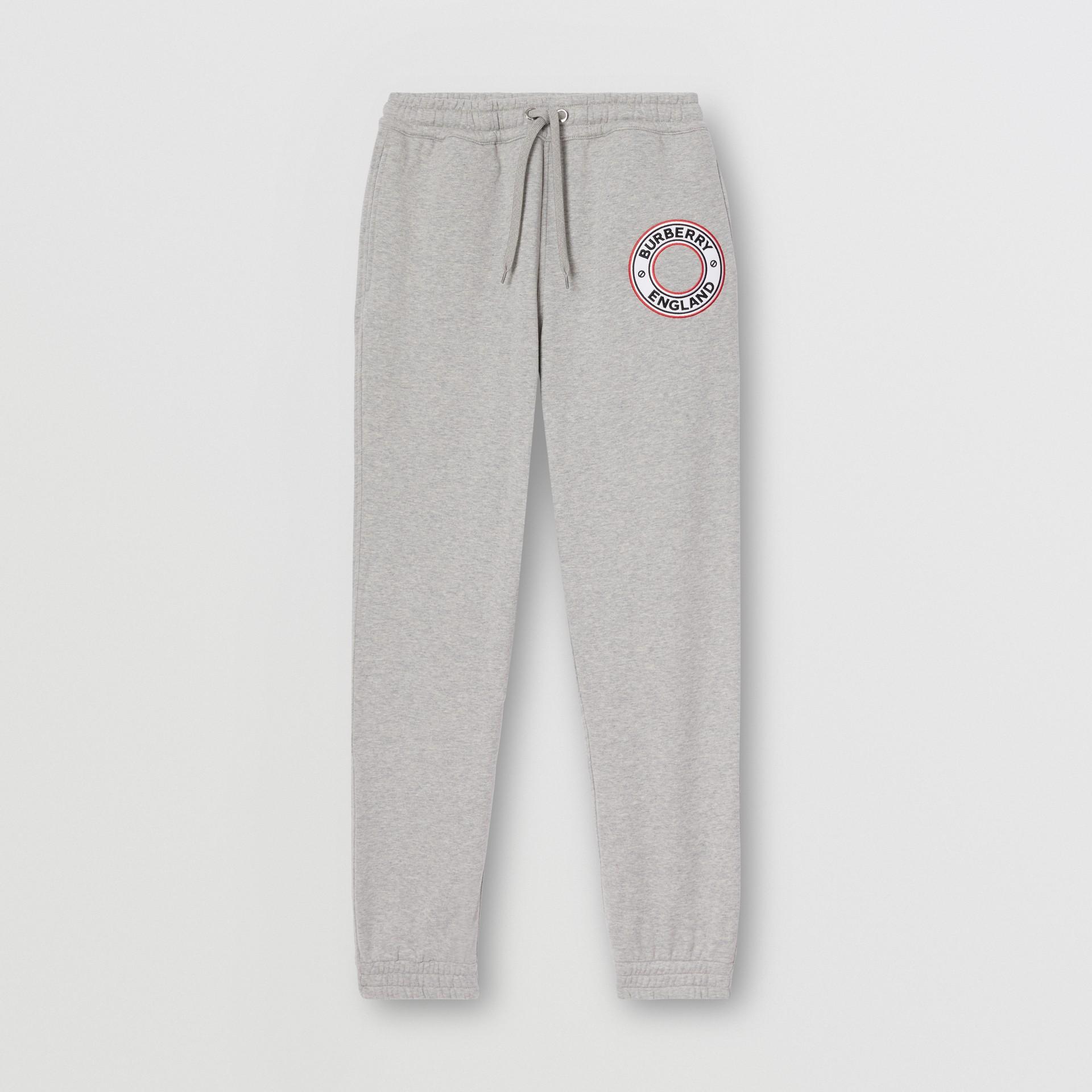 Logo Graphic Appliqué Cotton Jogging Pants in Pale Grey Melange - Men | Burberry - gallery image 3