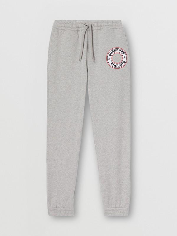 Logo Graphic Appliqué Cotton Jogging Pants in Pale Grey Melange - Men | Burberry - cell image 3