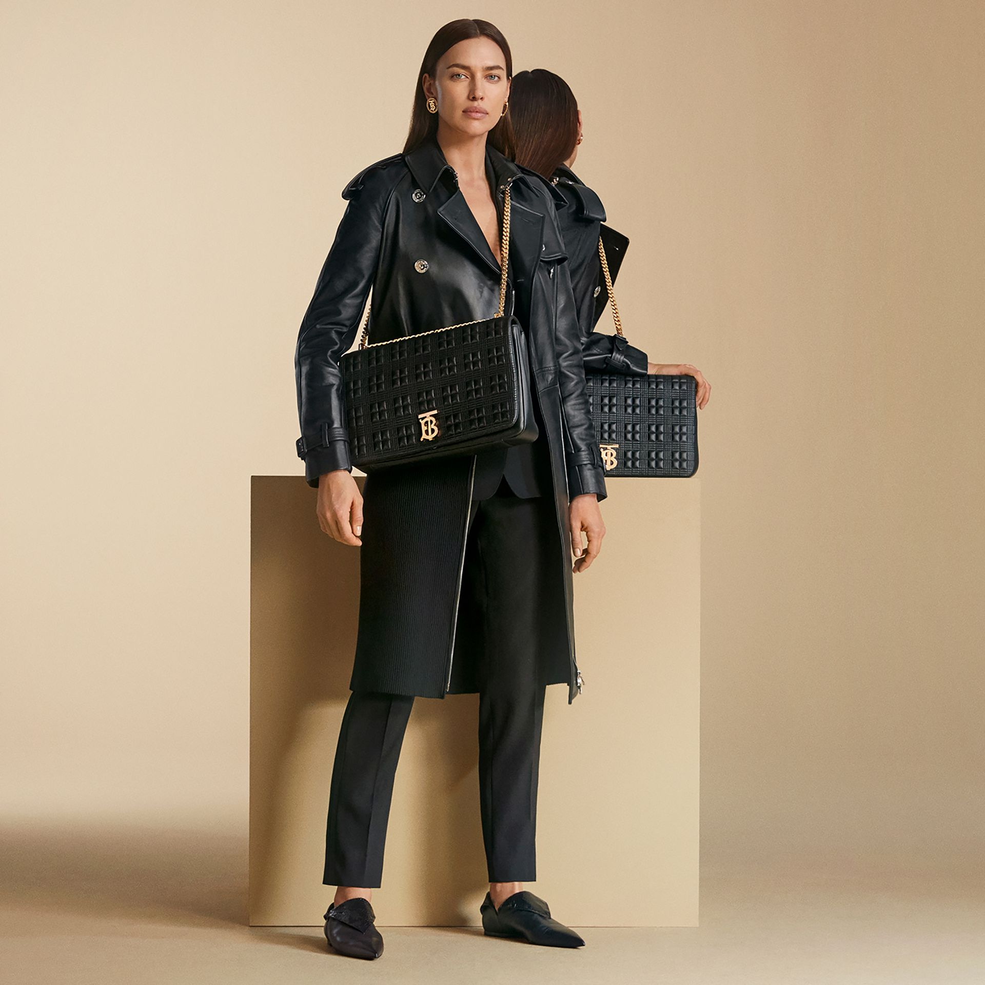 Extra Large Quilted Lambskin Lola Bag in Black - Women | Burberry United Kingdom - gallery image 1
