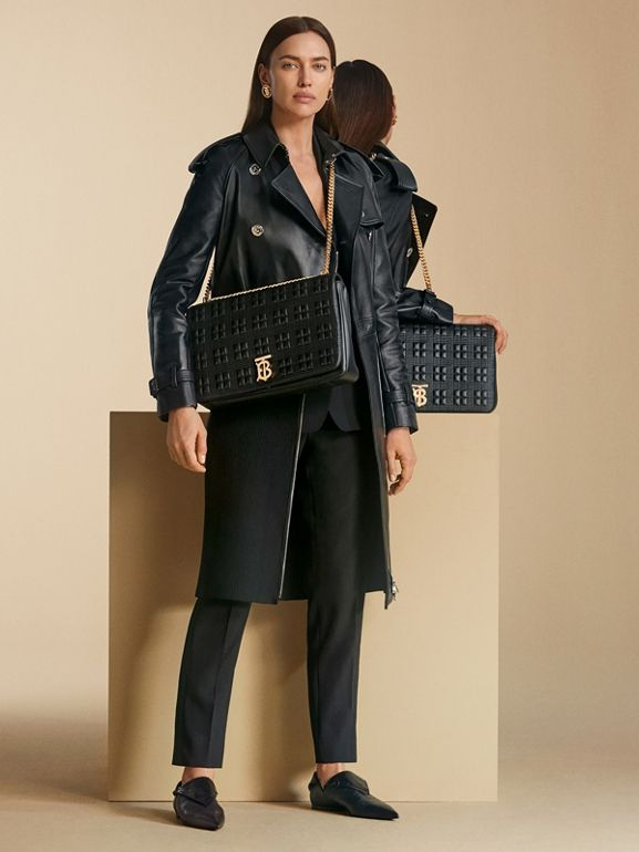 Extra Large Quilted Lambskin Lola Bag in Black - Women | Burberry United Kingdom - cell image 1