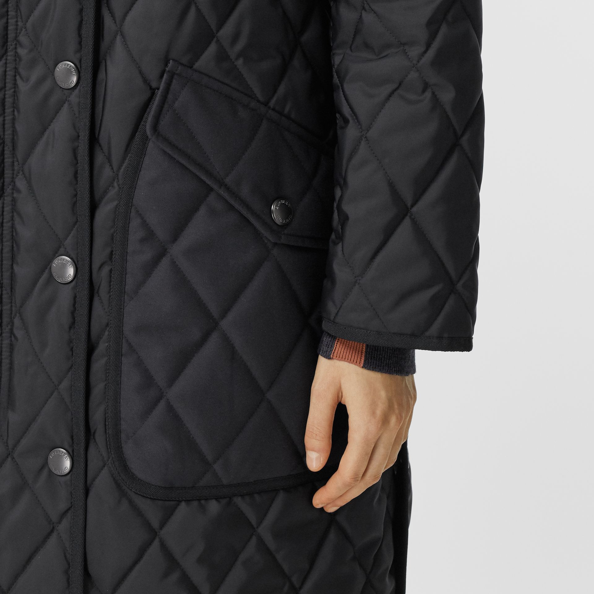 Detachable Fleece Collar Diamond Quilted Coat in Black - Women | Burberry - gallery image 4