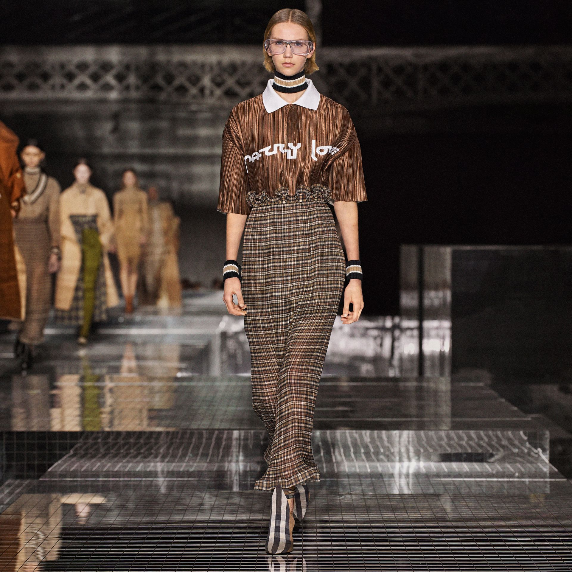 Custom Fit Ruffle Detail Check Chiffon Plissé Skirt in Mahogany - Women | Burberry - gallery image 1
