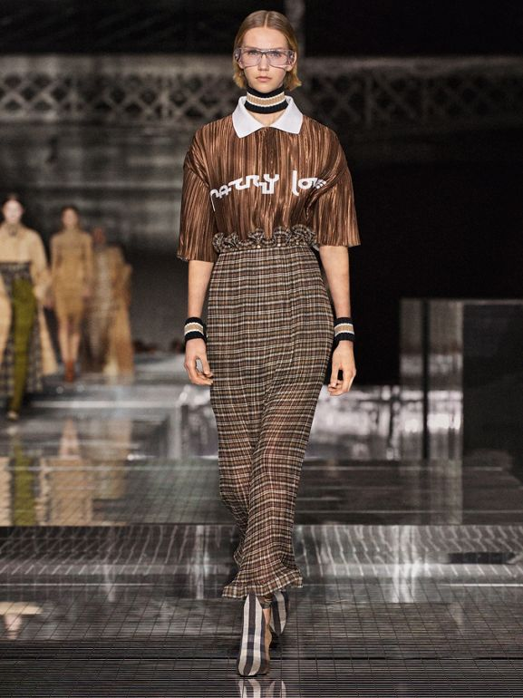 Custom Fit Ruffle Detail Check Chiffon Plissé Skirt in Mahogany - Women | Burberry - cell image 1