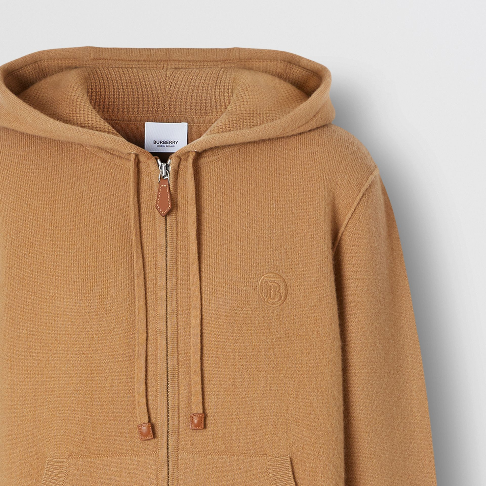 Monogram Motif Cashmere Blend Hooded Top in Camel - Women | Burberry - gallery image 6