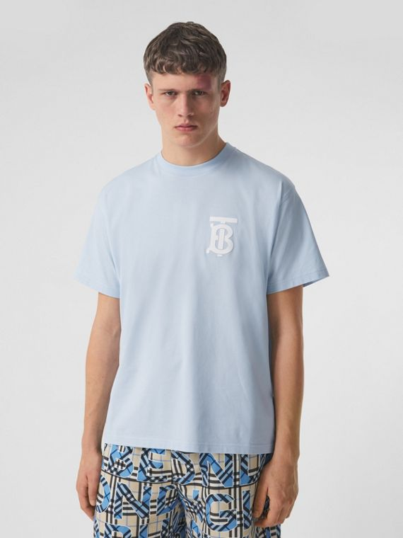 Monogram Motif Cotton Oversized T-shirt in Pale Blue