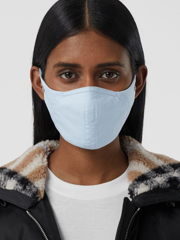 Logo Detail Cotton Face Mask in Pale Blue | Burberry United States - cell image 2