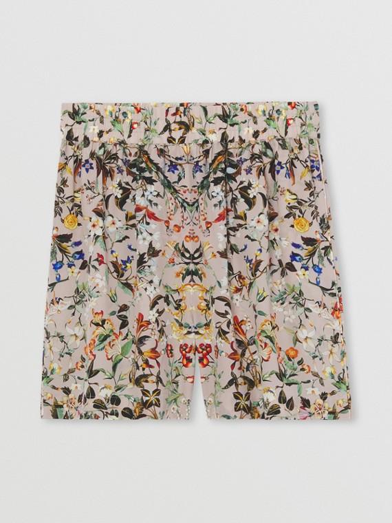 Pantaloncini in seta con stampa floreale (Beige)