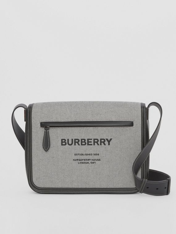 Small Horseferry Print Cotton Canvas Messenger Bag in Black