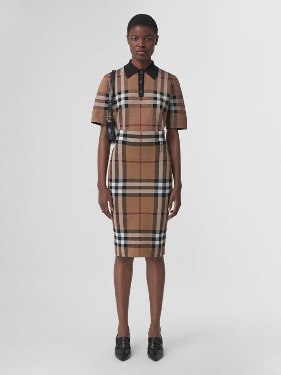 Check Silk Blend Jacquard Polo Shirt in Birch Brown