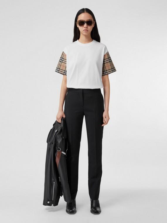 Camiseta oversize de algodão com mangas em Vintage Check (Branco)