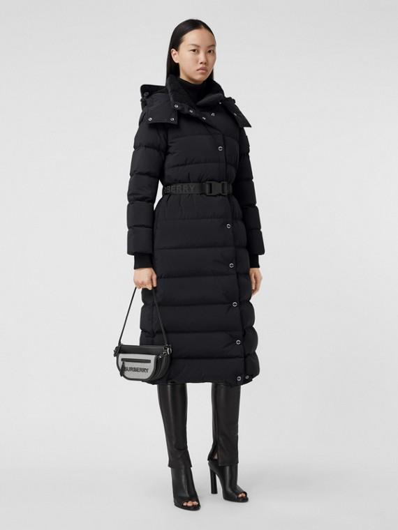 Detachable Hood Belted Puffer Coat in Black