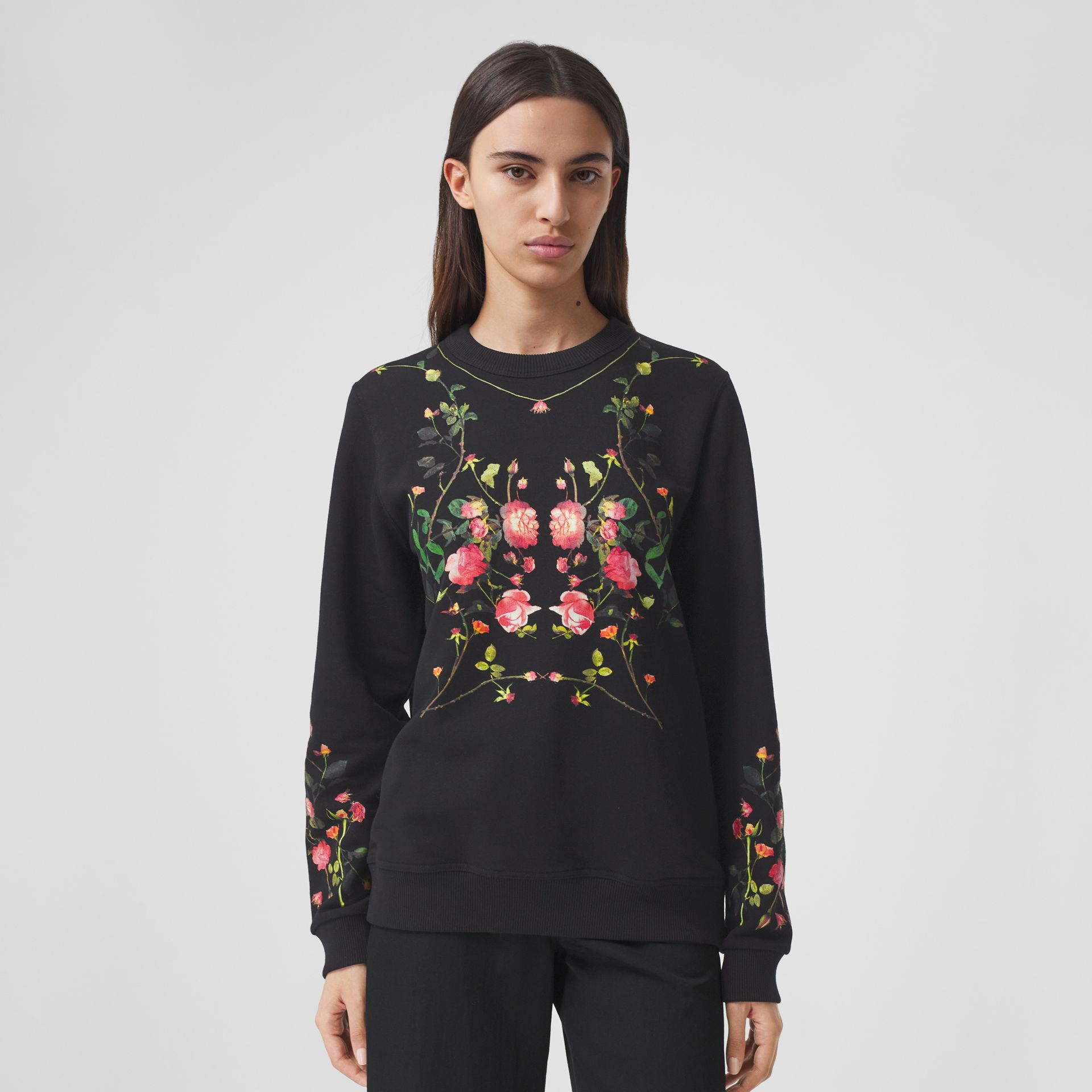 Rose Print Cotton Oversized Sweatshirt in Black - Women | Burberry - gallery image 4