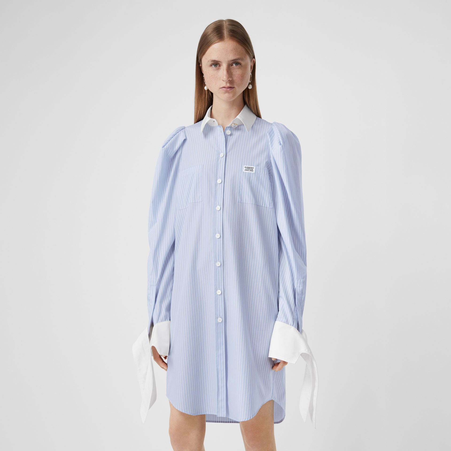 Striped Cotton Poplin Shirt Dress in Pale Blue - Women | Burberry - gallery image 5