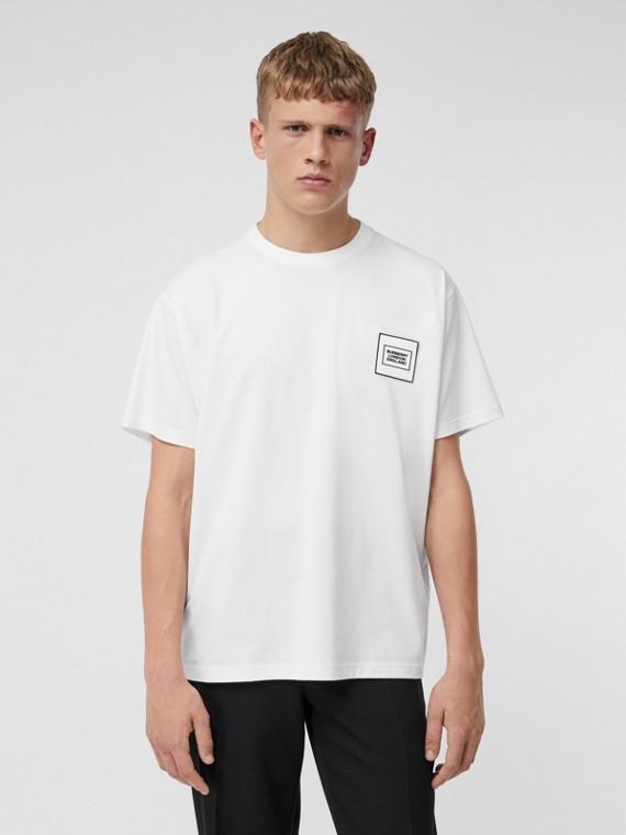 Camiseta de algodão com logotipo (Branco)