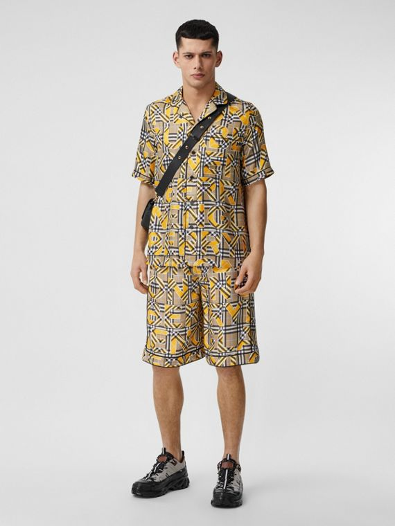 Logo and Check Print Silk Twill Shorts in Vivid Ochre