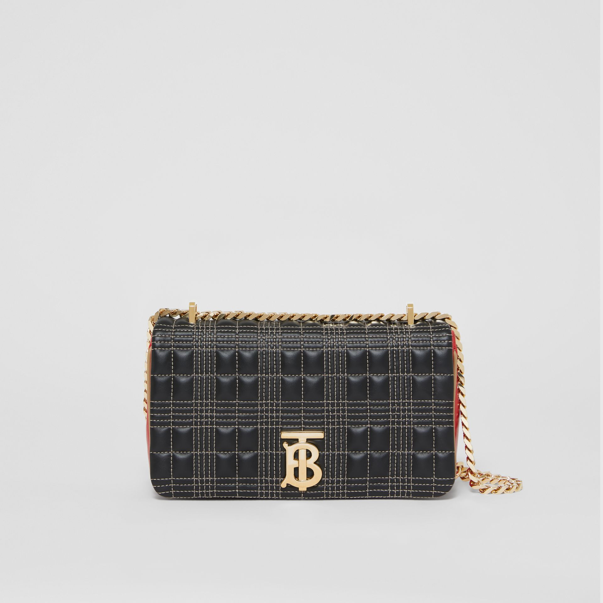 Small Quilted Tri-tone Lambskin Lola Bag in Black/bright Red - Women | Burberry - gallery image 0