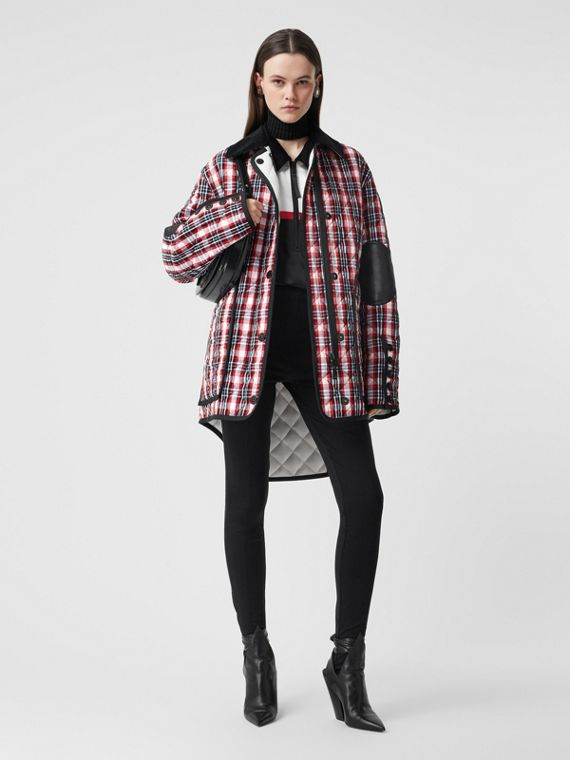 Diamond Quilted Tartan Oversized Barn Jacket in Bright Red