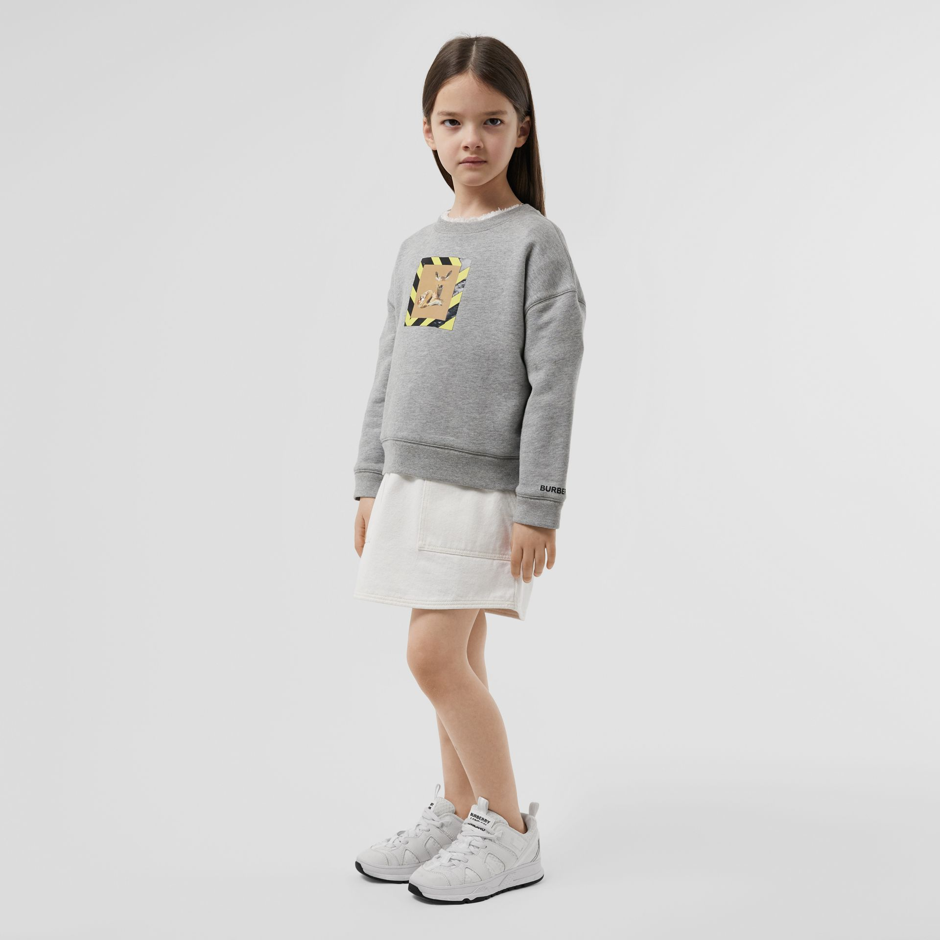 Deer Print Cotton Sweatshirt in Grey Melange | Burberry Hong Kong S.A.R - gallery image 2