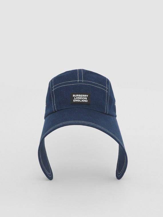 Logo Appliqué Denim Bonnet Cap in Blue