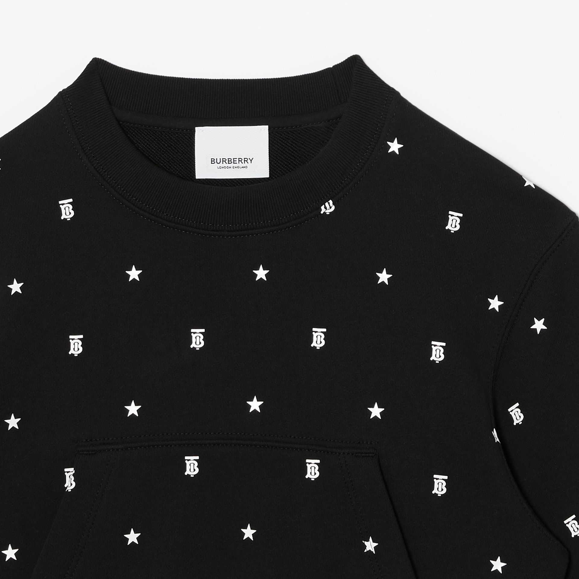 Star and Monogram Motif Cotton Sweatshirt in Black | Burberry - gallery image 3