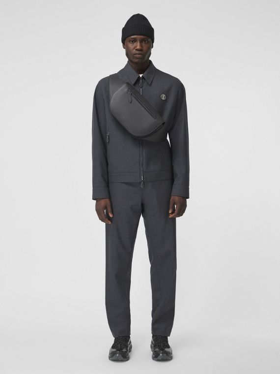 Monogram Motif Technical Wool Harrington Jacket in Dark Grey Melange