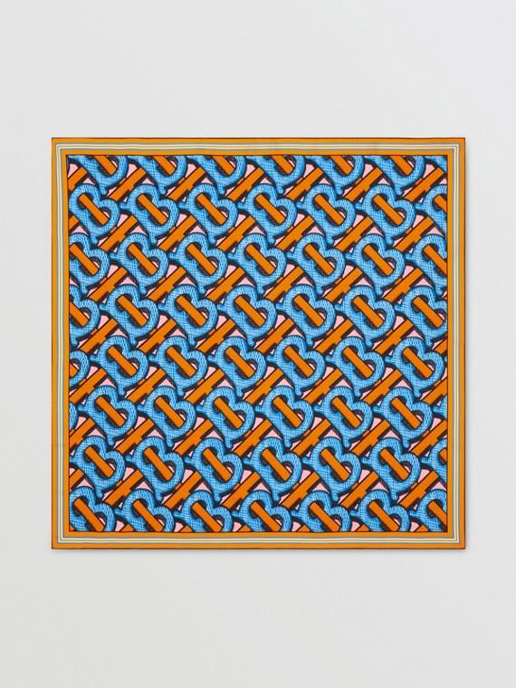 Шелковый платок с монограммой Burberry (Яркий Кобальт)