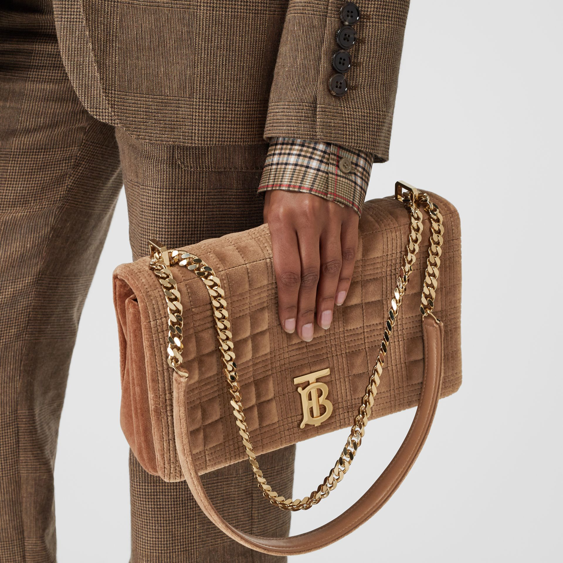 Medium Quilted Velvet Lola Bag in Fawn - Women | Burberry United States - gallery image 2