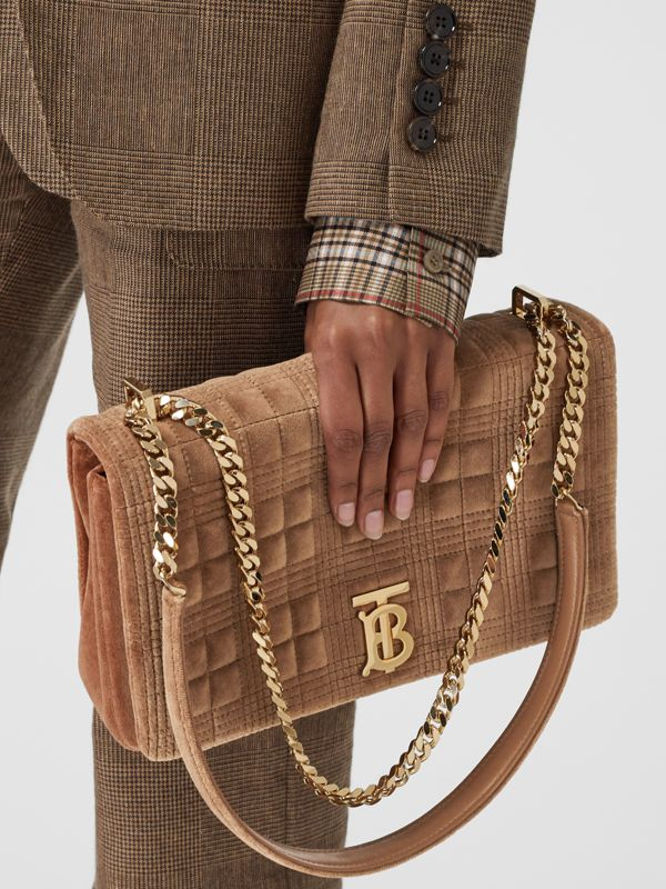 Medium Quilted Velvet Lola Bag in Fawn - Women | Burberry - cell image 2