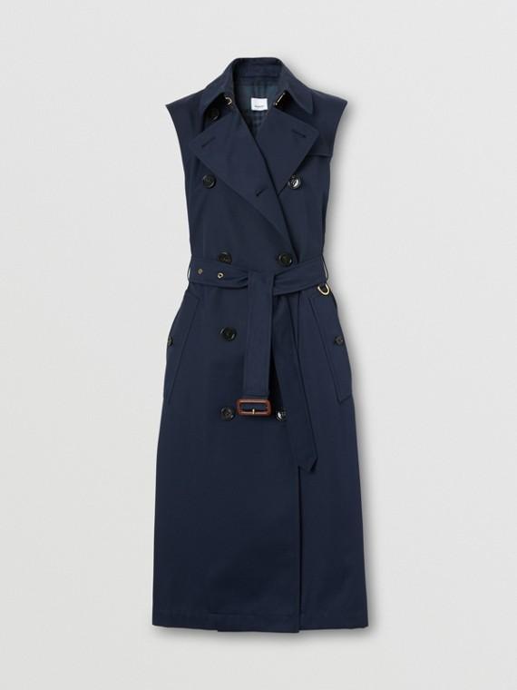 Cotton Gabardine Sleeveless Trench Coat in Midnight Blue