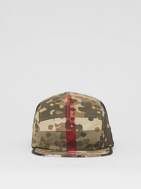 Camouflage Check Nylon Cap in Archive Beige
