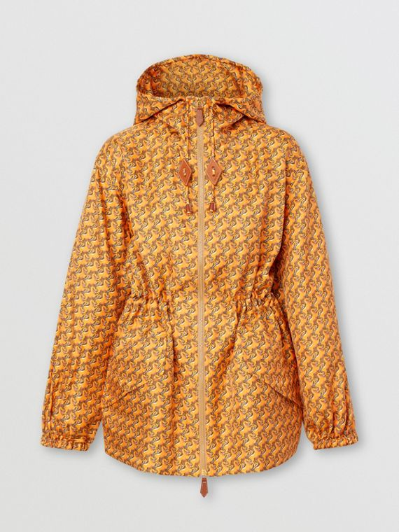 Unicorn Print Silk Twill Hooded Jacket in Bright Melon