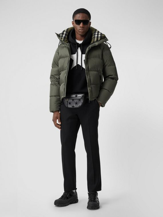 Detachable Sleeve Hooded Puffer Jacket in Olive