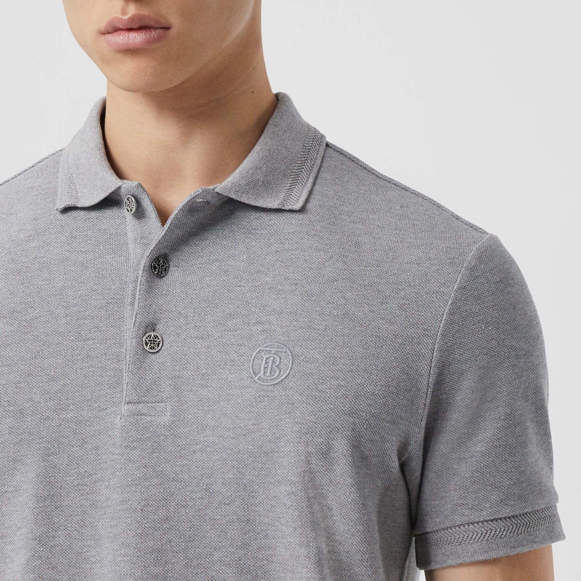Button Detail Cotton Piqué Polo Shirt in Pale Grey Melange - Men | Burberry - gallery image 1